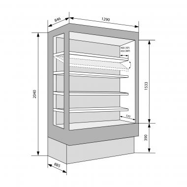 Wandkühlregale Brioni 1290 mit Glastüren