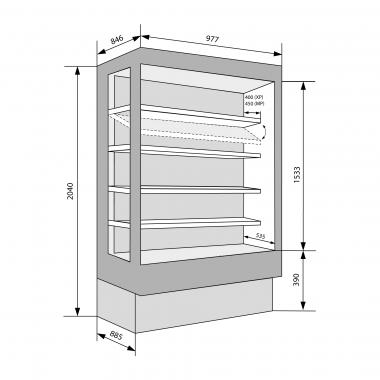 Wandkühlregale Brioni 990 mit Glastüren