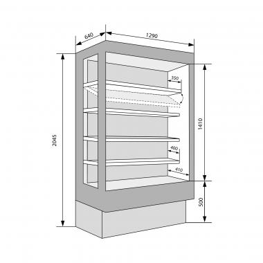 Wandkühlregale Dione 1290 mit Glastüren